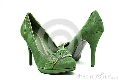 Green And Yellow High Heels On A White Background Stock Photo