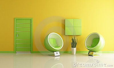 Green And Yellow Room : Green and yellow living room with two fashionable armchairs.