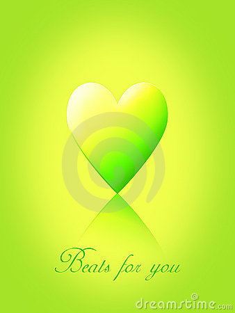 Green and yellow love heart