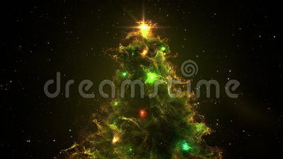 Green Yellow Nebula Christmas Fir Tree background seamless loop 4k resolution. stock footage