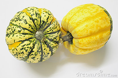 Green and yellow ornamental squashes