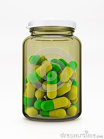 Green-yellow pills in medical bottle on white