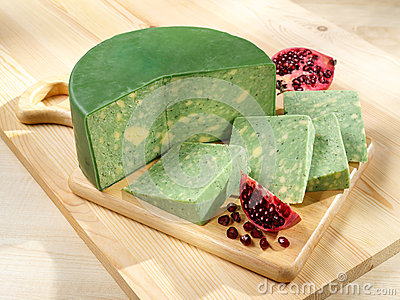 Green-yellow Sage Derby Cheese