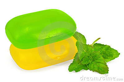 Green and yellow soap with mint