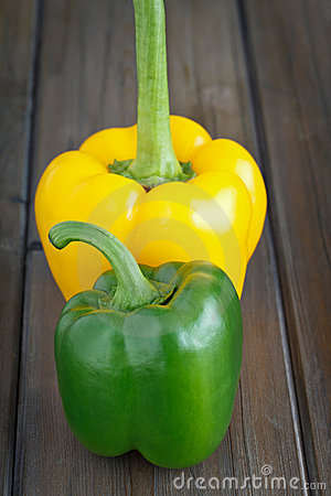 Green and yellow Sweet Pepper