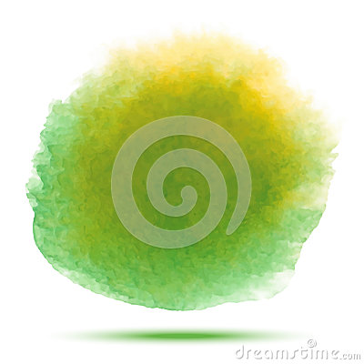 Free Green - Yellow Watercolor Vector Stain. Vibrant Watercolor Vector Spot Design Element  On White Background. Royalty Free Stock Photography - 84246167
