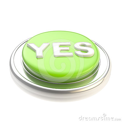 Green yes button glossy