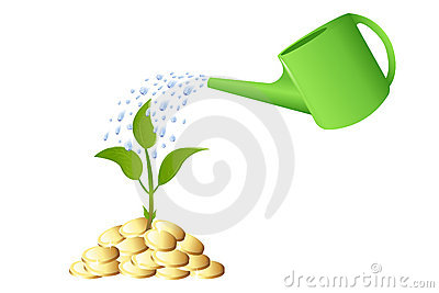 Green Young plant with money. Vector