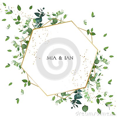 Free Greenery Wedding Invitation. Watercolor Style. Stock Photos - 123551373
