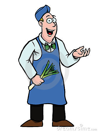 Greengrocer with leek showing something