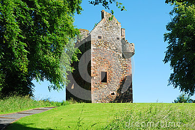 Greenknowe tower ruin in summer