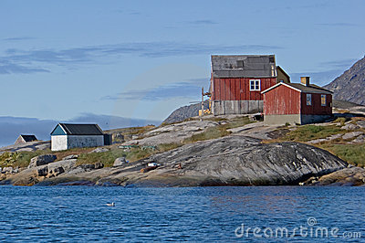 Greenland granite shoreline houses