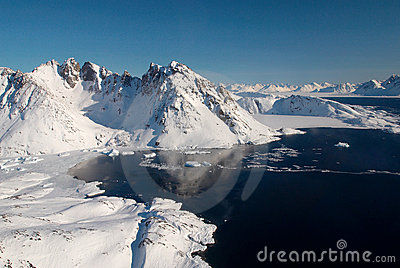 Greenland, ice floe and mountains