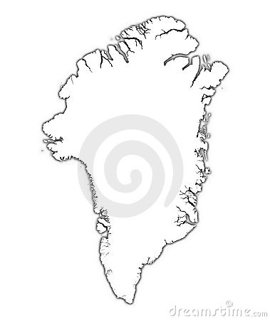 Greenland map with shadow