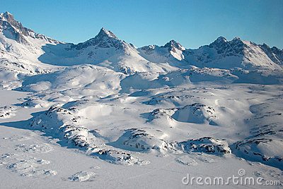Greenland, mountains and ice floe