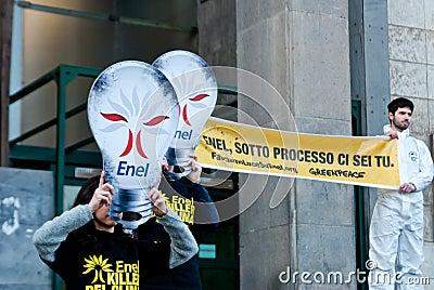 Greenpeace flash mob light bulbs Editorial Stock Image