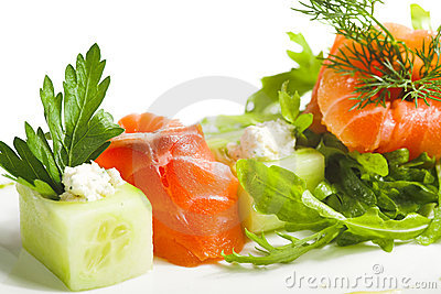 Greens and salmon