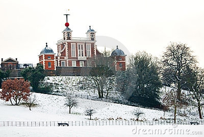 Greenwich observatory in a cold winter day