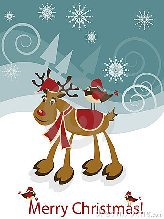 Greeteng Card With Funny Christmas Deer And Bird Royalty Free Stock Images - Image: 17201679