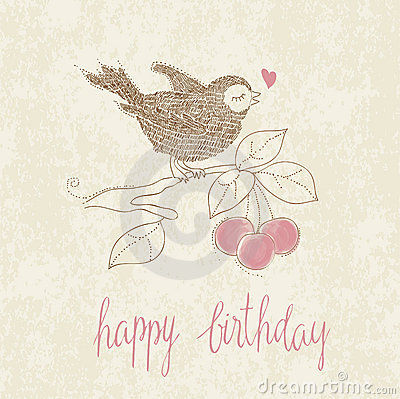Greeting Birthday Card with Cute Bird