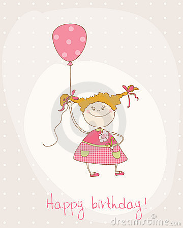 Greeting Birthday Card with Cute Girl