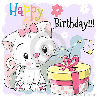 Free Greeting Birthday Card Cute Kitten With Gift Stock Photography - 112519902