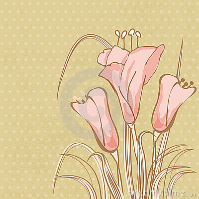 Greeting card with abstract calla lily flowers