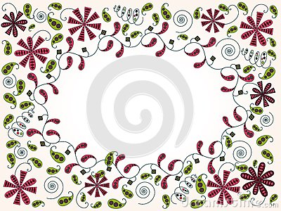 Greeting card with abstract floral elements