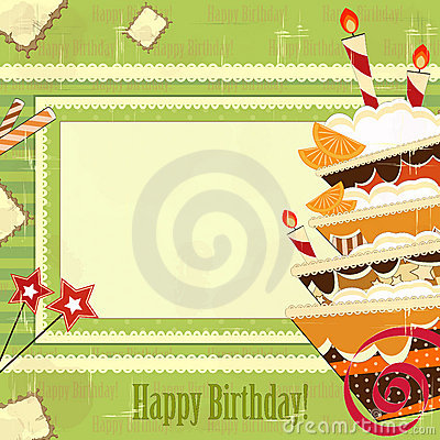 Greeting card with big chocolate cake