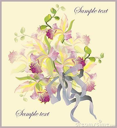 Greeting card with a bouquet of orchids.