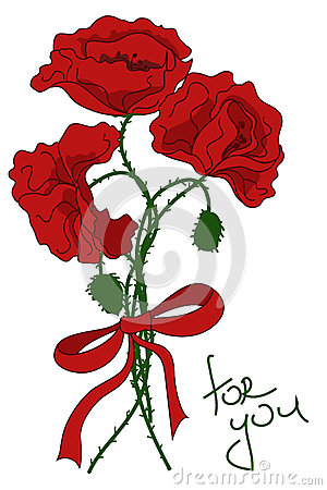 Greeting card with bouquet of poppy flowers