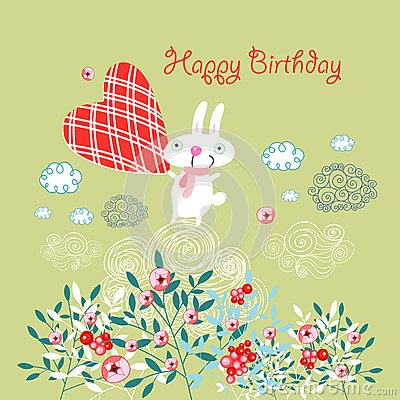 Greeting card with a bunny