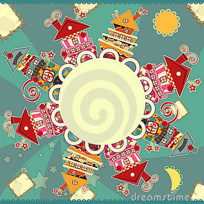 Greeting card with candy houses