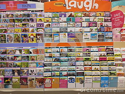 greetings cards in a store. editorial stock photo  image, Greeting card