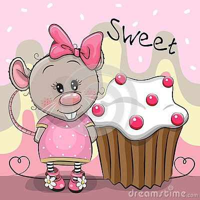 Greeting card Cartoon Rat with cake Vector Illustration
