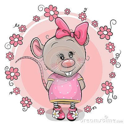 Free Greeting Card Cartoon Rat With Flowers Royalty Free Stock Photo - 141158555