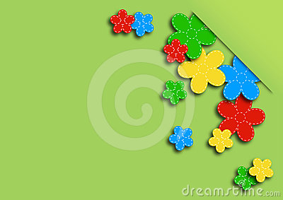 Greeting card with colored flowers