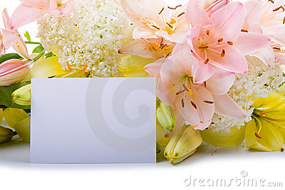 Greeting card for congratulations with flowers