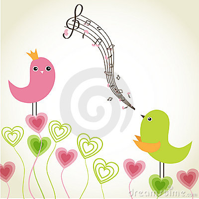 Greeting card with cute birds