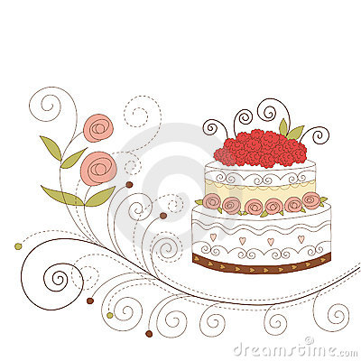 Greeting card with cute cake