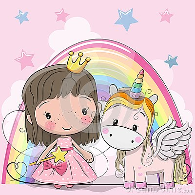 Greeting Card with fairy tale Princess and Unicorn Vector Illustration