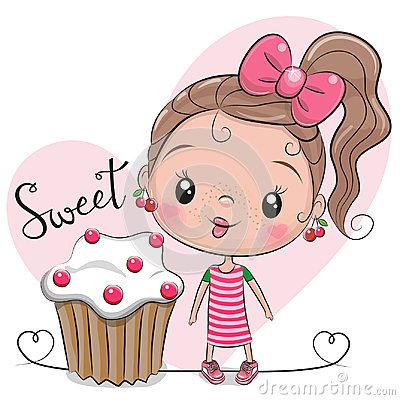 Greeting card Cute Girl with cake Vector Illustration