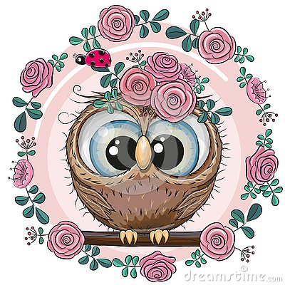 Greeting card Cute Owl with flowers Vector Illustration