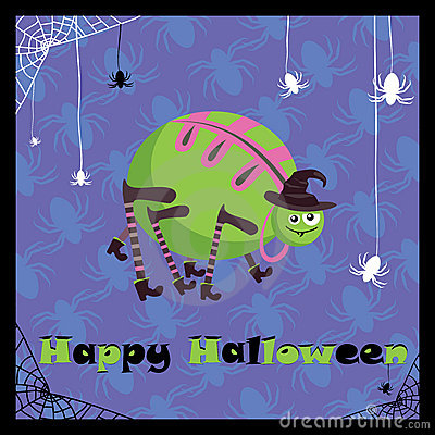 Greeting card with cute spider