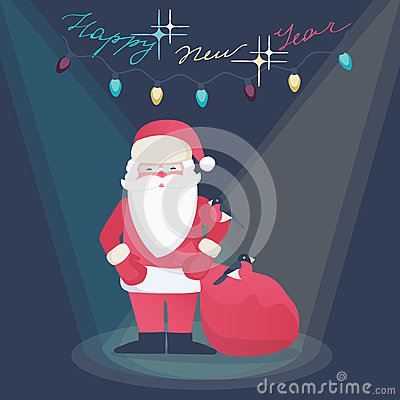 Greeting card design - Santa Claus on a New Year