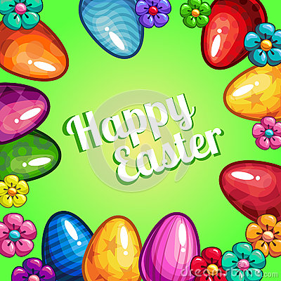 Greeting card with Easter Vector Illustration