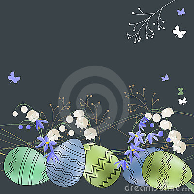 Greeting card with eggs and spring flowers