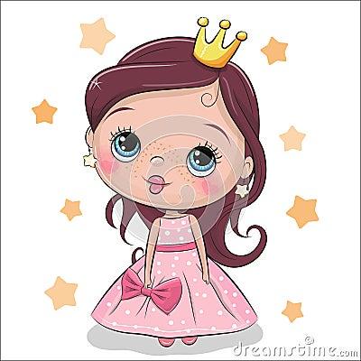 Greeting Card fairy tale Princess Vector Illustration