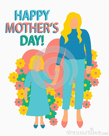 greeting card Flat style illustration Mother with Child Mother`s day poster Happy motherhood daughter seamless pattern print Cartoon Illustration