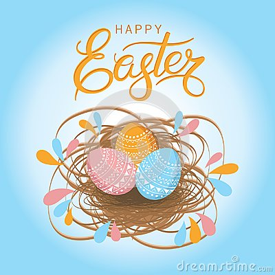 Free Greeting Card For Easter. Hand Drawn Lettering Text `Happy Easter` On Blue Background Stock Photos - 110935873